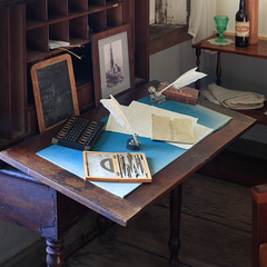 Fort Ross - 13 (fksr) Tags: fortross sonomacounty california russianfort rochevhouse interior office desk slate paper quill compass dividers
