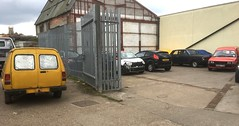 Two Maestros in yard (kitmasterbloke) Tags: austin maestro van commercialvehicle britishleyland restoration classic pickup outdoor transport uk essex royalmail britishtelecom