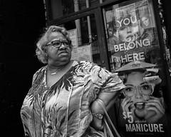 Chestnut Street, 2018 (Alan Barr) Tags: philadelphia 2018 chestnutstreet portrait candidportrait street sp streetphotography streetphoto blackandwhite bw blackwhite mono monochrome candid city people panasonic gx85