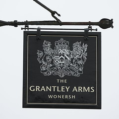 The Grantley Arms pub sign Wonersh Surrey UK (davidseall) Tags: the grantley arms pub pubs sign signs inn taverrn bar public house houses wonersh surrey uk gb british english heraldic hanging