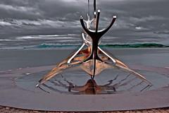 Reykjavik Harbor. Iceland (glenn2meyer) Tags: reyjkavik sculpture harbor iceland clouds sky sun voyager sony a6000