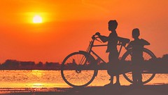 Kiddos during sunset (Captured by Bachi) Tags: photography photo childphotography kids children's children child family sister brother cycling cycle bycycle amateur bestclick bestshot lakeside lakeview natural natgeo nature new me golden goldenhour beautiful amazing lovely sunlover sunlight sunlights sunset sun