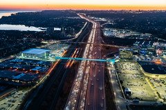 Pickering GO Bridge 020 (Michael Muraz Photography) Tags: 2019 canada northamerica on ontario pickering pickeringgo pickeringgobridge pickeringgopedestrianbridge toronto world aerial aerialphotography architecture bridge commercial dusk lighting night pedestrianbridge twilight