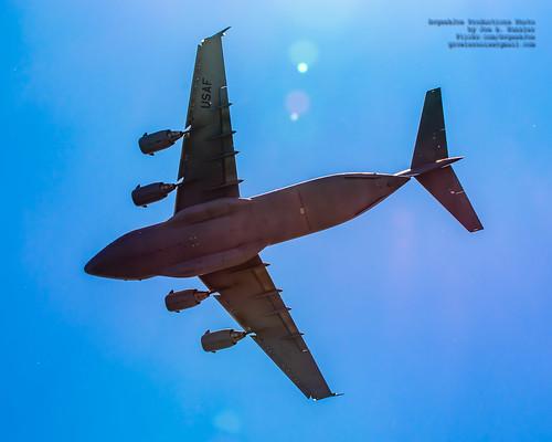 C-17 Demo Team Slicing Thru the Lens Flare