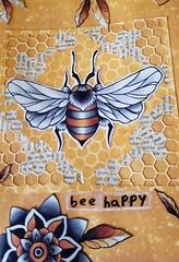 Bee Happy - Emilys Drawing (limerickme) Tags: mixed media art journal