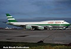 Cathay Pacific Airways B747-467 VR-HOY (planepixbyrob) Tags: cathay cathaypacific boeing 747 747400 vrhot jumbojet man manchester ringway kodachrome airport retro