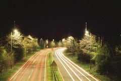 Zorki 6 (camera_holic) Tags: kmz zorki 6 rangefinder russian soviet kodak color plus 200 expired 2010 35mm film analogue night 30 second long exposure lights glos gloucestershire cirencester bypass car trails road dual carriageway