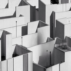Rooftops Geometry Black & White (2n2907) Tags: lines shadows pattern geometric shapes geometry abstract rooftops blackwhite