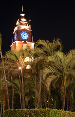Mérida Clock Tower (peterkelly) Tags: digital canon 6d northamerica yucatán mérida plazagrande clock tower night palm trees tree square plaza lit