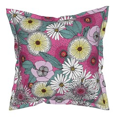 Australian garden pink serama throw pillow (Scrummy Things) Tags: banksia sturtsdesertrose albanydaisy eucalyptusleaves australia australianflora floral flowers nature illustration sharonturner scrummy spoonflower serama roostery throwpillow pink