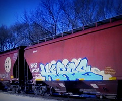 (timetomakethepasta) Tags: kerse amfm freight train graffiti art bnsf grainer hopper