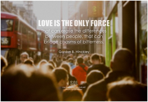 Gordon B. Hinckley Love is the only force that can erase the differences between people, that can bridge chasms of bitterness.