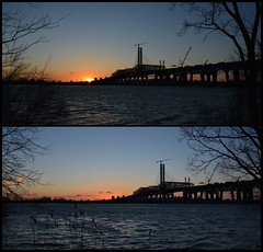 Sunset view from the south shore (Lorraine Goh) Tags: champlain bridge montreal sunset golden hour st laurent river