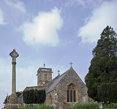 Church of the Blessed Virgin Mary, Cheddon Fitzpaine (hasselfan) Tags: church blessed virgin mary cheddon fitzpaine somerset hasselbladswcm cfv50c architecture stone work landscape churchyard cross bell tower