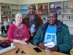 Lakeview Branch Knitting Group Volunteers - Judith, Mavis, and Bobby (oaklandlibrary) Tags: oakland lakeview lakeviewbranch oplthanksvolunteers library libraryvolunteers oplvolunteers knitting lakemerritt