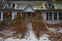 Once Welcoming (SunnyDazzled) Tags: abandoned decay house rural farm windows overgrown front door snow ice cold frozen history past