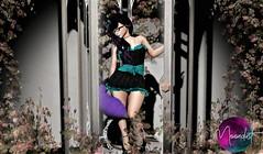 Moondust - Jezebel Dress (KoreRae (Art & Soul)) Tags: moondust sl secondlife jezebel black teal kitty kitten collar bdc backdropcity fashion womensfashion flowers roses dress goth emo doll