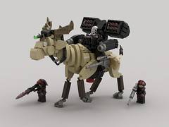 Sivatherium Rider (V1) (demitriusgaouette9991) Tags: lego ldd military army armored powerful riders sivatherium deadly bull lasers missile soldier future federation whitebackground giraffidae iceage stoneage runner 40k 90k mammal