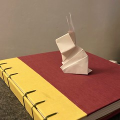 Easter Bunny designed by David Shall. Demonstrated by Sara Adams (anuradhadeacon-varma) Tags: handboundbook handmadebook whiterabbit rabbit paperrabbit bookbinding bunny origamibunny origami easterbunny