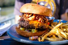 Burger w/ ham,cheddar, pineapple salsa, crispy onion, bbq sauce - Table 9 (sheryip) Tags: burger food foodporn morgantown wv wvu sher yip table 9 tuesday bbq