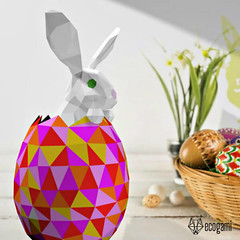 3D Cut, Fold, and Glue Easter Bunny Paper Craft Model (all things paper) Tags: ecogami papertrophy lowpoly papersculpture papercraft holidaycraft papermodel animalhead eastercraft