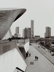 Stratford and the LAC (marc.barrot) Tags: monochrome urbanlandscape contemporary architecture uk e20 olympicpark london stratford queenelisabethpark londonaquaticscenter lac