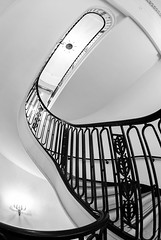 Looking Up (Karen_Chappell) Tags: stairs staircase steps bw blackandwhite railing hotel architecture travel chicago usa illinois palmerhouse city urban interior abstract geometry geometric building fisheye canonef815mmf4lfisheyeusm wideangle