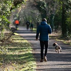 sjb-dog (Stephen.Bingham) Tags: bristolandbathrailwaypath dog dogwalking ccbysa creativecommons attributionsharealike bike pufferjacket