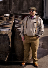 James Likes Whisky |  Tomatin Distillery, Scotland (zeon7) Tags: tomatin distillery j scotland man moustache beard braces tartan sunglasses smile bear cub barrel whisky inverness