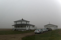 A Foggy Morn (joeldinda) Tags: canon powershotg9xii g9x 2019 weather fog michigan eatoncounty roxandtownship roxana lawn house garage fields drive driveway 4550 april 107365