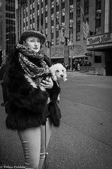Regarded with Jaundiced Eyes (RobinPsPhotos) Tags: gotham manhattan nyc newyork newyorkcity thebigapple afternoon bw blackandwhite bnw candidportrait day daylight dogs female midtown outdoors outside pm streetphotography street urban
