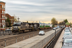Stacks on NJ Transit (sully7302) Tags: nj transit norfolk southern train transport 21m intermodal van ups fedex rutherford freight njt njtr bergen county detour reroute rare ac44c6m general electric skyline city spring new jersey h55 derailment