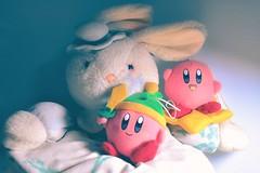 My Natty Rabbit and Kirby ! ⭐️ (laddarat123) Tags: toyphotography memories memory nostalgia lomo vintage retro childhood nostalgic dolls doll kirbyplush nintendo kirby plushie plush toy toys