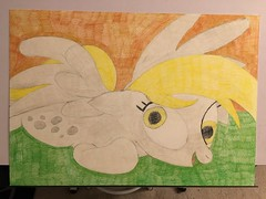 Muffins on the Floor (Big-Kid) Tags: derpy hooves muffins carpet wall shadow color colour pencil drawing smile crosseyed cross eyed blonde wing pegasus cutie mark hoof horse pony little green brown grey gray yellow raised tail hair mane