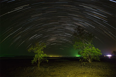 Koh Mak Island - Star trails and colorful night sky over the mangrove trees. (baddoguy) Tags: color image contrasts copy space dark dramatic sky electric light famous place friendship green horizon over water horizontal island landscape scenery effect long exposure mangrove tree night no people photography sea star trail tee thailand togetherness trat province travel destinations two objects unusual angle variation wallpaper decor