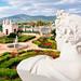 Inner garden of Pousada Palácio Estói with many beautiful sculptures