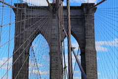 A picture in two halves (kerwitcherwoo) Tags: newyork usa america brooklynbridge bridge blue sky
