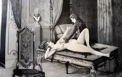 Duke of Orleans with Julie on the table (Illustrated Collection) Tags: orleans prostitution prostitute mistress fetish naked breasts touching france nakedwoman nude table erotic nipple tit