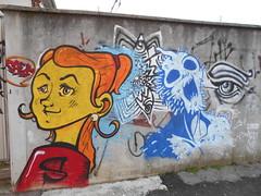 733 (en-ri) Tags: saer ragazza girl occhio eye bianco nero azzurro rosso giallo torino wall muro graffiti writing