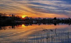 Maundy Thursday, Norway (Vest der ute) Tags: xt20 norway rogaland haugesund water waterscape landscape lake reflections mirror sky clouds trees houses evening sunset branch grass f fav25 fav200