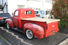 1946 Ford Pickup (doojohn701) Tags: vintage classic retro rough red vegetation house cars driveway brickwork white american ford f150 pickup truck california sidcup uk