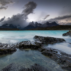 Torres moment (Jerzy Orzechowski) Tags: patagonia sunset green glacier water rocks sky moody lake chile torresdepaine clouds