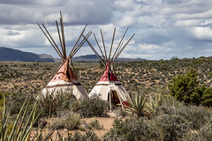 Hualapai Tribe Exhibit (Dailyville) Tags: arizona hualapai dwelling desert grandcanyonwest cacti sky mountains clouds dailyville ohiofoothills summer outdoor