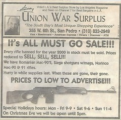 Celebrating the New Millennium - Banned Assault Rifle Christmas Close-out Sale / Gun Control Backfires (ramalama_22) Tags: snowflake trigger politically incorrect blather nonsense satire snark christmas closeout sale celebration new millennium banned assault rifle san pedro los angeles california union war gun store sports pawn shop feeding frenzy surplus counterproductive arma failure backfire unintended consequences newspaper ad south bay unique shoppng experience ground zero hunting accident adverse outcome maim kill gunshot wound bullet happiness warm
