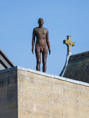 The Iron Man by Antony Gormley, Oxford (baldychops) Tags: oxford oxfordshire city outdoor spring sunshine sun history historic visit visitor university college town famous ironman theironman iron statue figure naked nude roof gormley antonygormley rooftop sky bluesky