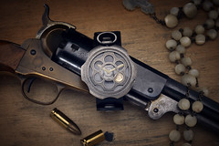 _D3X5747 (an Artist Without Art) Tags: colt rosario bullets ancient western farwest rosary revolver handgun weapon navy 1860 nacre adv tambooro mondia gunpowder larrygelmini watch wristwatch