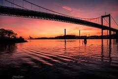 Gothenburg Evening Light (Fredrik Lindedal) Tags: bridge sunset sun glow evening sky skyline sweden sverige gothenburg göteborg water lindedal
