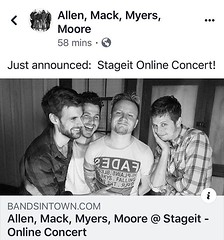 Via AMMM: Just announced: Stageit Online Concert! . . Link for tickets! https://www.stageit.com/allen_mack_myers_moore/letting_it_roll_from_zach_s_house/67297 (AllenMackMyersMooreNation) Tags: allen mack myers moore ammm