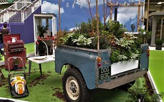 Half a Land Rover. (ManOfYorkshire) Tags: dog613c landrover cut used sorn adapted converted planter garden display onshow ideal home show london 2019 kensingtonolympia 1965 planting rear wheels