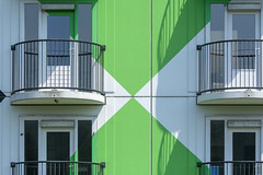 Four balconies (Jan van der Wolf) Tags: map186394v balconies four vier facade gevel amsterdam heesterveld green groen shadow shadowplay schaduw schaduwen schaduwspel architecture architectuur